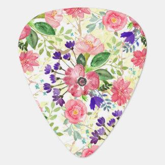 Watercolor garden flowers guitar pick