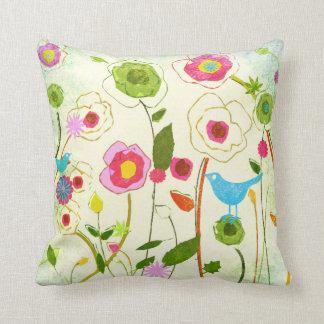Watercolor Garden Flowers Throw Pillows