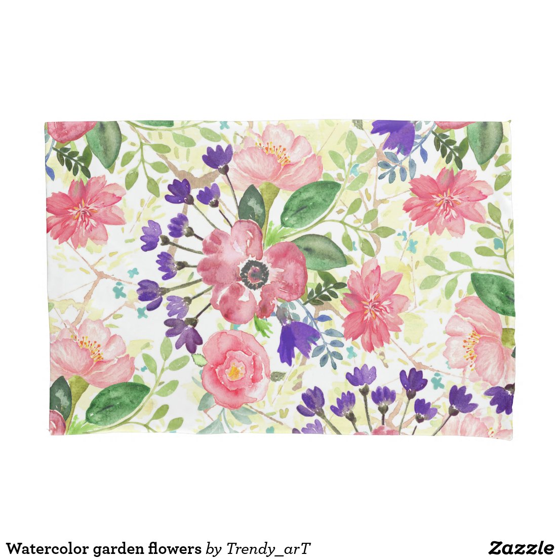 Watercolor garden flowers pillow case