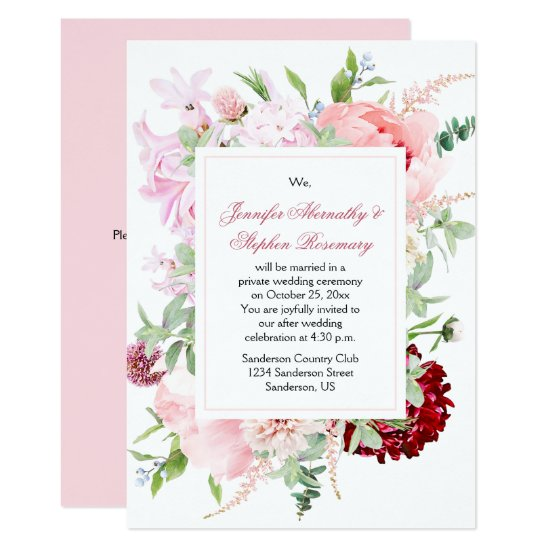 Watercolor Garden Flowers Wedding Reception Only Invitation