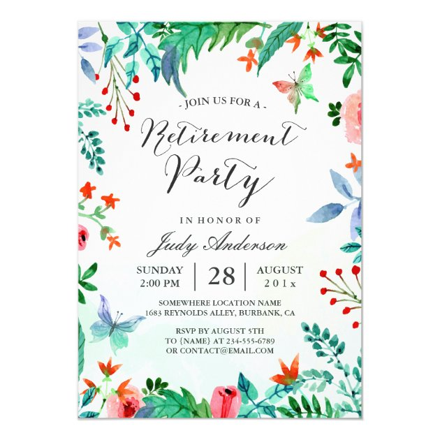 Watercolor Garden Greenery Floral Retirement Party Card