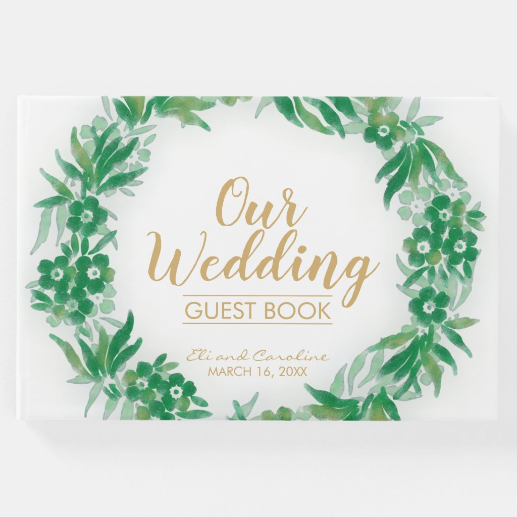 Watercolor Garden Greenery Wedding Guest Book