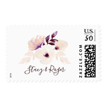 Wedding Themed Watercolor Garden Peach Floral Wedding Postage