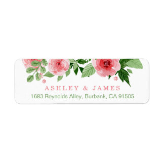 Watercolor Garden Rose Nature Flowers Label