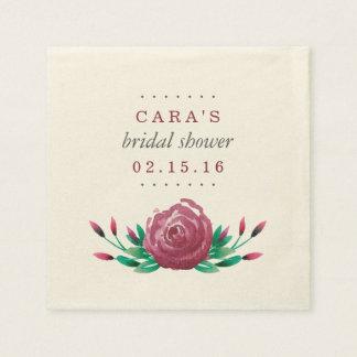 Watercolor Garden Roses Bridal Shower Paper Napkin