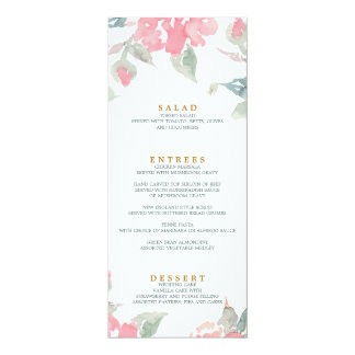 WATERCOLOR GARDEN WEDDING wedding dinner menu Card