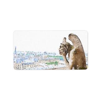 Watercolor Gargoyle of Notre Dame Label