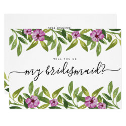 Watercolor garland will you be my bridesmaid card