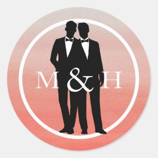 Watercolor Gay Grooms Wedding Monogram Stickers