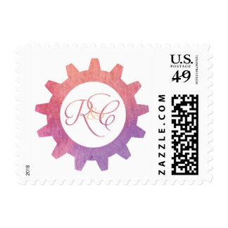 Watercolor Gear Monogram Stamp Postage Stamps