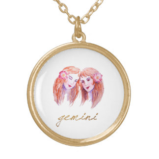 Watercolor Gemini Twins Gold Plated Necklace