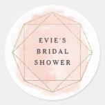 Watercolor geo faux glitter bridal shower sticker