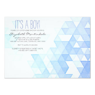 Watercolor Geometric Blue Baby Shower Invitation