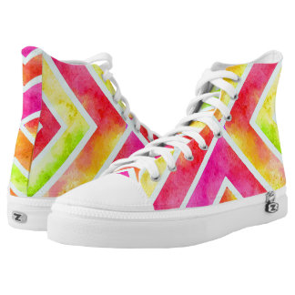 Watercolor geometric chevron stripes fluorescent printed shoes