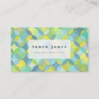 Watercolor Geometric Circle Pattern Template Business Card