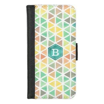 Beach Themed Watercolor Geometric Pattern (Beach Tones) iPhone 8/7 Wallet Case