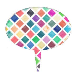 Watercolor geometric pattern cake topper