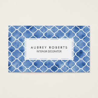Watercolor Geometric Pattern Indigo Blue and White Business Card