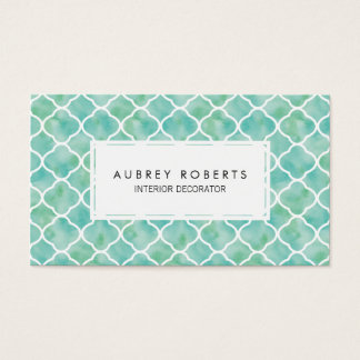 Watercolor Geometric Pattern Modern Aqua Green Business Card