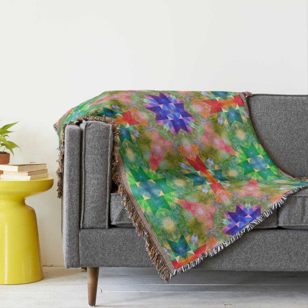 Watercolor Geometric Pattern Throw Blanket