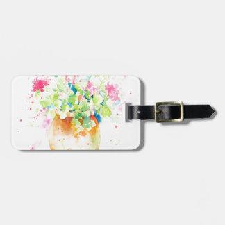 Watercolor geranium in terracotta pot bag tag