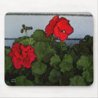 Watercolor Geraniums Mousepad
