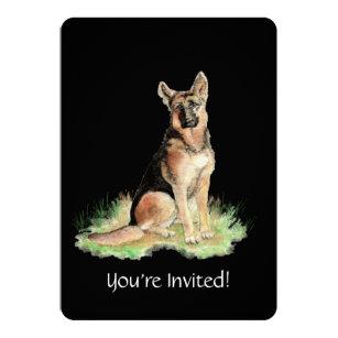 Watercolor German Shepherd Dog Birthday Party Invitation