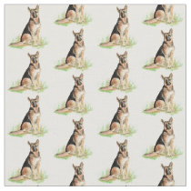 Watercolor German Shepherd dog pet animal Fabric