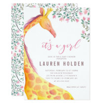 Watercolor Giraffe Baby Shower Invitation