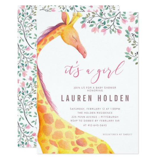 Watercolor Giraffe Baby Shower Invitation Zazzlecom