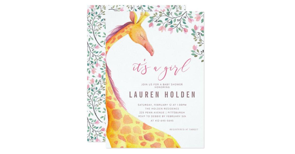 Watercolor Giraffe Baby Shower Invitation | Zazzle.com