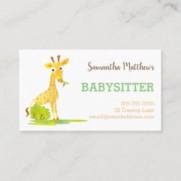 Watercolor Giraffe Babysitter Childcare Provider Business Card