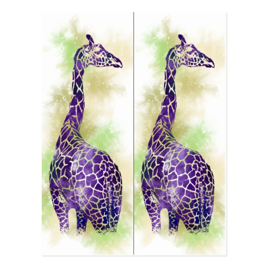 Watercolor Giraffe book markers Postcard