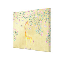 Watercolor Giraffe Butterflies and Blossom Canvas Print
