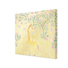 Watercolor Giraffe Butterflies and Blossom Canvas Print