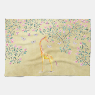 Watercolor Giraffe Butterflies and Blossom Hand Towel