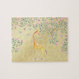 Watercolor Giraffe Butterflies and Blossom Jigsaw Puzzle