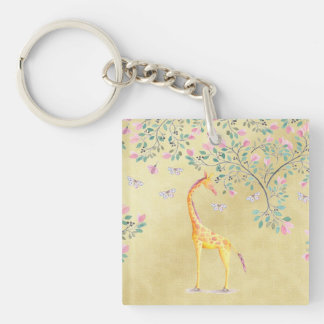 Watercolor Giraffe Butterflies and Blossom Keychain