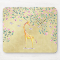 Watercolor Giraffe Butterflies and Blossom Mouse Pad