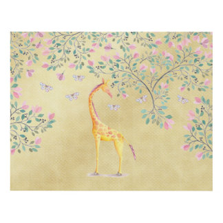 Watercolor Giraffe Butterflies and Blossom Panel Wall Art