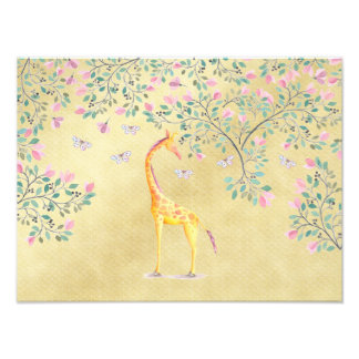 Watercolor Giraffe Butterflies and Blossom Photo Print