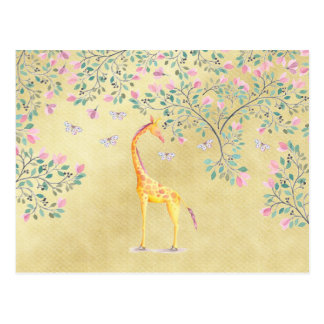 Watercolor Giraffe Butterflies and Blossom Postcard