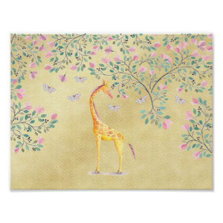 Watercolor Giraffe Butterflies and Blossom Poster