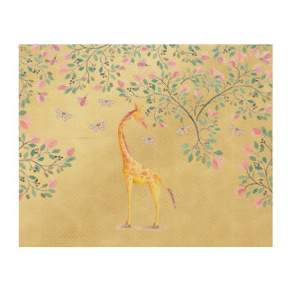 Watercolor Giraffe Butterflies and Blossom Wood Print