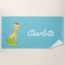 Watercolor Giraffe Kids Personalized Cute Girls Beach Towel