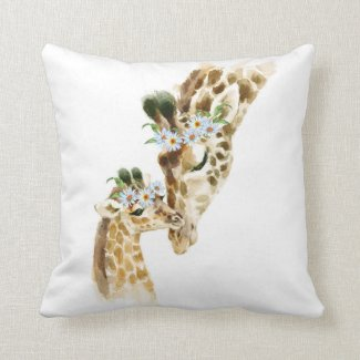 Watercolor, Giraffe, Mama and Baby, baby shower, n Throw Pillow