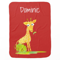 Watercolor Giraffe Personalized Cute Animal Kids Swaddle Blanket