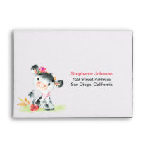 Watercolor Girl Cow Baby Shower Farm Envelope