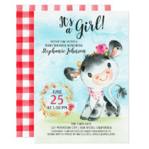 Watercolor Girl Cow Baby Shower Farm Invitation