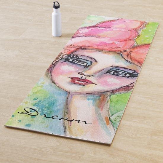 Watercolor Girl Cute Bold Colorful Whimsical Art Yoga Mat